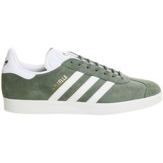 Gazelle Trainers by Adidas Originals ($96) ❤ liked on Polyvore featuring shoes, sneakers, green, stripe shoes, striped sneakers, suede shoes, striped shoes and adidas footwear