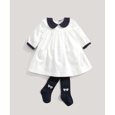 school dress kids uniforms baby girl long sleeve girls teenagers peter pan collar A-line white cute cotton white dresses #Affiliate