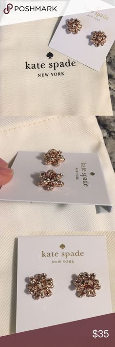 Kate Spade diamond bow studs in rose gold Never been worn before. They look like little how's you put on top of a package so cute and festive for holidays. kate spade Jewelry Earrings