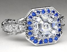 Asscher Diamond Vintage Pave Engagement Ring Blue Sapphire halo  - EST2AC