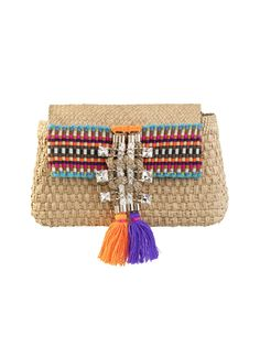 Caffe natural Iraca clutch with stones