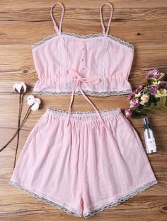 Sleep Short Camisole And Shorts - Pink S Cute Sleepwear, Sleepwear Women, Lingerie Sleepwear, Cute Comfy Outfits, Trendy Outfits, Fashion Outfits, Tankini With Shorts, Pink Shorts, Bra And Underwear Sets