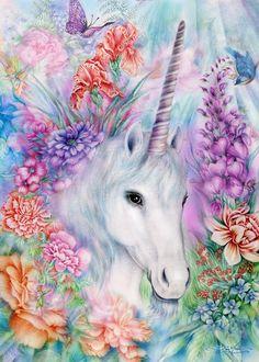 By Artist Joan Marie Unicorn Fantasy Myth Mythical Mystical Legend Licorne