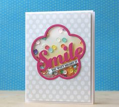 Smile Shaker Card by Laura Bassen for Papertrey Ink (February 2015)