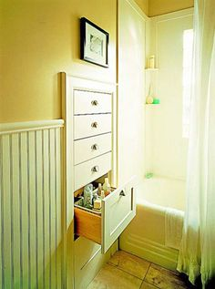 Bathroom Space - Built-In Drawers between wall studs. Imagine how much space you could save w/out dressers! Think about bathroom space. Diy Casa, Bathroom Storage, Wall Storage, Storage Ideas, Storage Drawers, Bathroom Drawers, Storage Hacks, Bathroom Wall, Design Bathroom