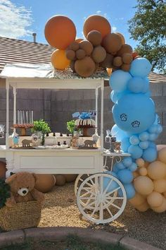 Take a look at this cute teddy bear themed baby shower! Love the cart dessert table! See more party ideas and share yours at CatchMyParty.com #catchmyparty #partyideas #teddybear #teddybearparty #babyshower #boybabyshower