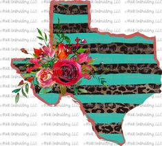 Sublimation Transfer (only) - Texas - striped - leopard - floral - flowers - t-shirt - can cooler