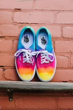 Multicoloured vans: So cool! :) I should try to do this to plain colored vans and tie-dye it or something :)