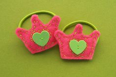 Pretty Princess Felt Ponytail Holders, Hot Pink by whitepicketfences, via Flickr