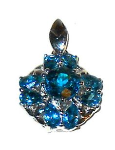 4.00ctw London Blue and White Topaz Silver Pendant Christmas In July    http://stores.ebay.com/JEWELRY-AND-GIFTS-BY-ALICE-AND-ANN
