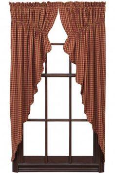 Ninepatch Star prairie curtain burgundy check