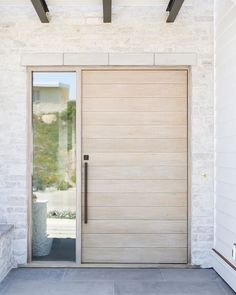 There is an exterior trend we've been loving--light wood entry doors.Today we have a beautiful roundup of light wood doors for every aesthetic to help inspire your own design. White Oak Front Doors, Wood Front Doors, Oak Doors, Wooden Doors, Entry Doors, Entrance, Front Entry, Arched Doors, Panel Doors