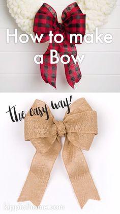 Diy Bow, Diy Hair Bows, Diy Ribbon, Ribbon Crafts, Wreath Crafts, Diy Wreath, Make A Wreath Bow, Deco Mesh Wreath Tutorial, Tie Bows With Ribbon