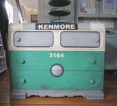 A fun & unique waterfall-style dresser painted to look like a Boston Subway Car using various colors of Chalk Paint® decorative paint by Annie Sloan including a custom blend of Antibes Green & Florence   By stockist Sea Rose Cottage in Bristol, RI