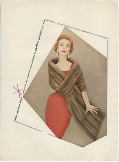 1955 Gunther Jaeckel Autumn Haze EMBA Mink Fur Coat Vintage WOMENS FASHION Ad featuring redhead model