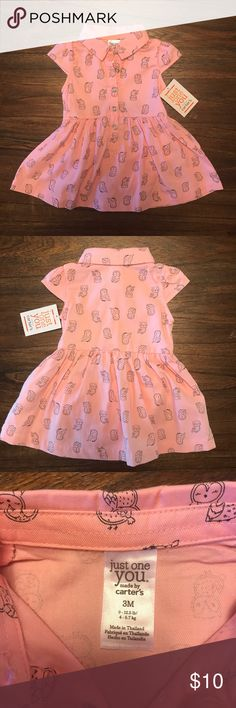 Just One You by Carter's Baby Girl Pink Owl Dress Brand New never been worn. Still has tags. Excellent condition. Tag does say it's a three piece, however I only have the two shown in pictures (dress and diaper cover) Carter's Dresses Casual