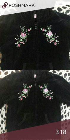 Pretty Girls Velour Jacket Pretty Girls Velour Jacket, zippered front, attached hood, and two pockets. Pink and purple embroidery flowers stand out on the black background. Global i.d. Jackets & Coats