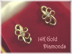 14K Gold - Diamond Freedom Swirl Post Earrings - Gift Boxed - FREE SHIPPING by FindMeTreasures on Etsy