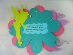 Tinkerbell party invitation, fairy party. Using Cricut cartridge.