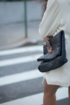 Street Style // Pebbled Clutch // Fold Over