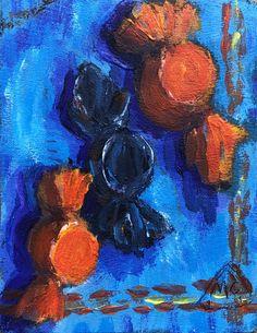 """Peanut Butter Kisses Trio"" - 3 W X - Acrylics & M/M on Masonite Panel - Daily Painting, Small Canvas, Canvas, Painting, Art Hub, Art, My Arts"