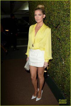 Kate Hudson wearing Christian Louboutin Iriza Pumps in White Bvlgari Mediterranean Eden Necklace