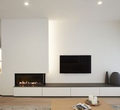 New Living Room Modern Fireplace Ideas Home Fireplace, Living Room With Fireplace, Fireplace Design, Fireplace Ideas, Fireplace Stone, Fireplace Modern, Small Fireplace, Christmas Fireplace, Fireplaces With Tv Above