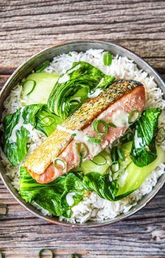 "Healthy Wasabi Lime Salmon over Soy-Simmered Rice with Baby Bok Choy recipe | Try HelloFresh today with code ""HelloPinterest"" and receive $25 off your first box."