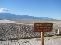 bad water basin Death Valley California 282 ft below sea level 8th grade year