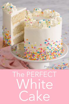 This moist and fluffy, melt in your mouth White Cake recipe from Preppy Kitchen is wrapped in a creamy, dreamy, and light Swiss meringue buttercream that is easy to make and so versatile, you'll be whipping it up nonstop!