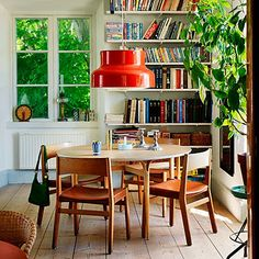 dining area library with bookshelves Roseland Greene