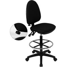 iHome Boswell Mid-Back Black Fabric Multifunction Professional Drafting Chair w/Adj Lumbar Support