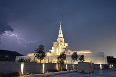 The new Phoenix Arizona Temple - Beautiful! Love the lightening in the background