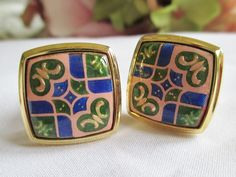Vintage Cufflinks Awesome Gold  Multi Colored by vintagelady7