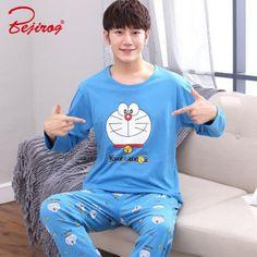 Bejirog Men Pajamas Set Cotton Sleepwear Cartoon Print Nightwear Long Sleeved  Sleep Clothing Casual Nighties Autumn Male Lounge ca23a5682