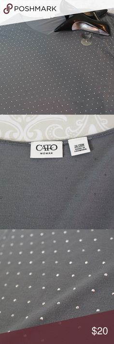 PLUS Gray CATO Jersey Top with Silver Sz 26/28W Like new condition light weight Jersey Top with metallic silver dot embellishment by CATO.  Short cap sleeve.  Size 26/28W.  Bundle your likes for my best offer.  Thank you for shopping my closet!  :0)  (F) Cato Tops