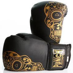 Trophy Getters® Gold Skull Commercial Boxing Gloves   Punch Equipment® Gold Boxing Gloves, Boxing Boots, Boxing Wraps, Grappling Dummy, Cowhide Leather, Black Leather, Judo Gi, Fight Gym, Metal On Metal