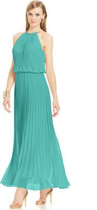 $124 T8 MSK Limited Pleated Blouson Hardware Halter Maxi Dress: