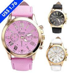 cc5a5574d81 Luxury Women Fashion Analog Crystal Quartz Genuine Leather Watch