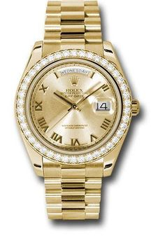 Rolex Oyster Perpetual Day-Date II President 218348 chdp The Rolex President. yellow gold case, bezel set with 42 diamonds, champagne dial, diamond hou G Shock Watches, Rolex Watches, Gps Watches, Patek Philippe Aquanaut, Watch Diy, Buy Rolex, Rolex Day Date, Rolex Oyster Perpetual, Glamour