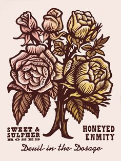 Honeyed Enmity ~ Martin Mazorra's Language of Flowers, Duet Series ~ Color Woodcut and Letterpress print, 18 x 24 inch, French's 100 lb. Cover, Insulation Pink. Handcut, Handprinted with moveable type. Edition of 20.