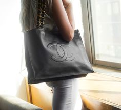 Chanel Black Leather Tote only $266 http://vaunte.hardpin.com/tracker/c.php?m=HardPin&u=type359&url=https://www.vaunte.com/items/chanel-black-leather-tote?medium=HardPin&source=Pinterest&campaign=type359&ref=hardpin_type359