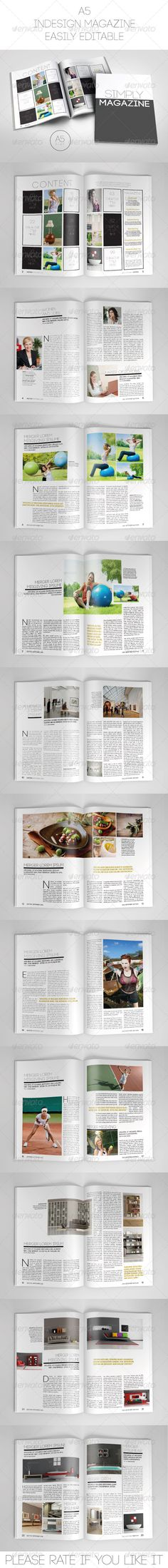 A5 Magazine Template (Portrait) by WattCore A5 Magazine Template (Portrait) This is a professional and clean InDesign magazine template that can be used for any type of indus