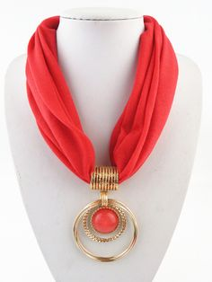 High Quality Endant Scarf Circular Alloy Pendant Collar Polyester Solid Scarf Necklace for women Scarf Necklace, Fabric Necklace, Scarf Jewelry, Love Necklace, Fabric Jewelry, Fine Jewelry, Jewelry Necklaces, Beaded Necklace, Pendant Necklace