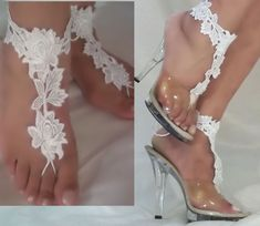 Beautiful White Lace Barefoot Sandals Bride by DesignsByLoure
