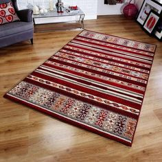 Aguila Red Rug Bloomsbury Market Rug Size: Rectangle 120 x Youth Rooms, Duck Egg Blue Rugs, High Pile Rug, Striped Rug, Machine Made Rugs, Teal Area Rug, Red Rugs, White Rug, Rugs Online