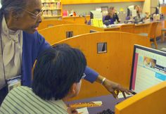 Computer assistance at the Fairfield Civic Center Library