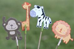 Jungle animals, Jungle animal banner, zebra, lion, monkey, giraffe, froggy, frog, gator, alligator, jungle centerpieces, jungle animals party ideas
