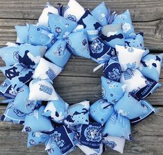 I must say, I am partial to this wreath.  My wonderful son will be a graduate from UNC in May...on Mother's Day!  We are very proud of him and one way to show it is by making this great UNC wreath to