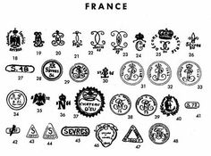 """Pottery & Porcelain Marks - France - Pg. 11 of 22. These illustrations don't help with my mystery pieces.  I have been assuming that """"& Cie"""" in the company name meant it was a French manufacturer, but I'm now tossing that assumption. Perhaps it's ike buying Euro-this or that in the USA, and American or California this or that in Europe and Asia."""